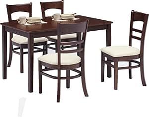 ダイニングテーブルセット 5点セット 木製 (ダークブラウン)