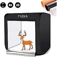 撮影ボックス TYCKA フォトスタジオボックス 60x60x60cm 2x78LEDライト付き 5500K 折りたたみ式 簡易スタジオボックス 背景スクリーン3色&収納袋付 TK207US