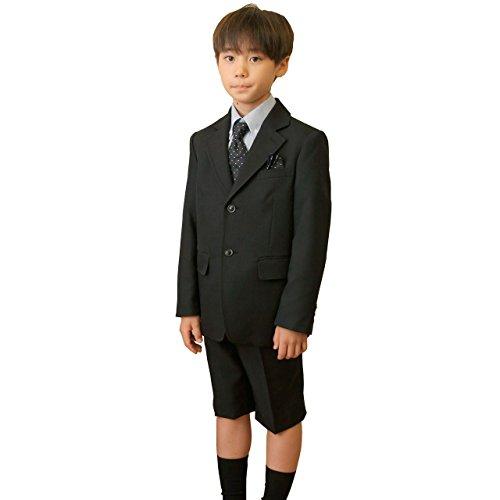 (キャサリンコテージ) Catherine Cottage 子供服 フォーマル スーツ 男の子 トラディショナル王道デザイン パンツスーツ5点セット 110cm 黒ストライプ×水色[BLK]