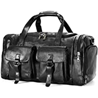 Zeroway Oversized Leather Travel Duffel Bag with Laptop Compartment, Carry on Bag Weekender Bag for Men & Women