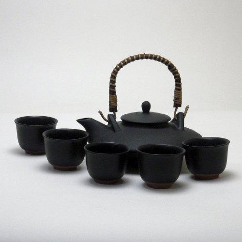 黒千代香(くろじょか) セット (耐熱黒釉焼酎燗瓶) 5客ツ...