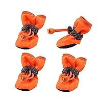4ピース防水ペット犬の靴冬暖かい柔らかい厚く通気性の犬のブーツアンチスリップシューズ用小型犬ペット用,Orange,L