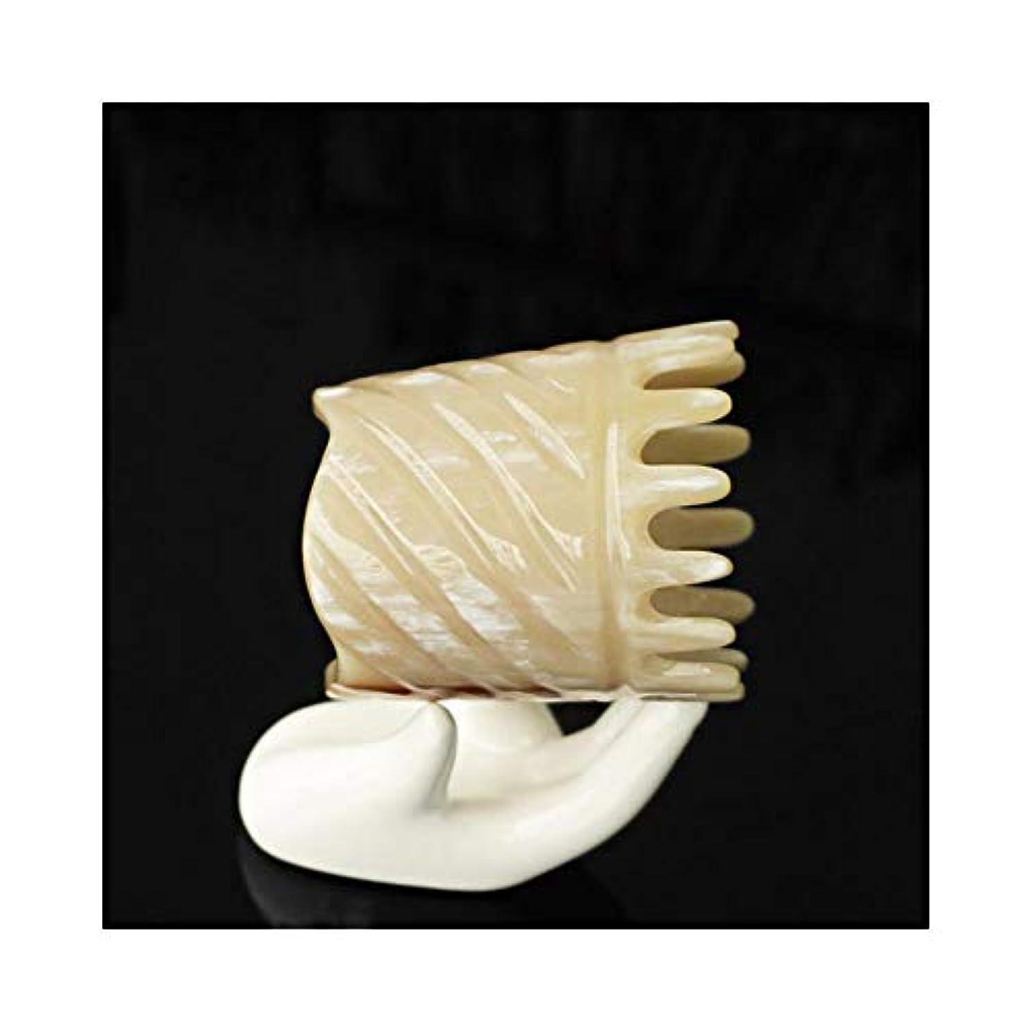 永久に上未知のWASAIO 頭皮マッサージはありません静的手作りのための自然木製ヤクホーンくしDetangleコームズメンズ?レディース?ヘアーブラシセットパドル (色 : A)