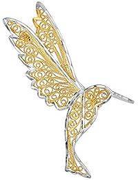 Bonyak Jewelry 14金 & ロジウムダイヤモンドカット フィリグリー ハチドリピン 14金 イエローゴールドにロジウムメッキ