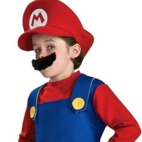 笑顔一番 子供 マリオ コスチューム 衣装 セット Tシャツ パンツ 帽子 髭 イベント 仮装 ハロウィンで 活躍 キッズ A003-131 (1) Mサイズ 130-150