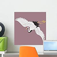 Japanese White Crane Wall Mural by Wallmonkeys Peel and Stick Graphic (18 in H x 18 in W) WM93468 [並行輸入品]