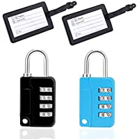 LGNTXDC 4pcs Luggage Locks Security Accessories Kit, 2 4-Suitcases-Lock-Code Padlocks with 2 Luggage Tags for Travel Luggage, Door, Trunk, Box, Bag