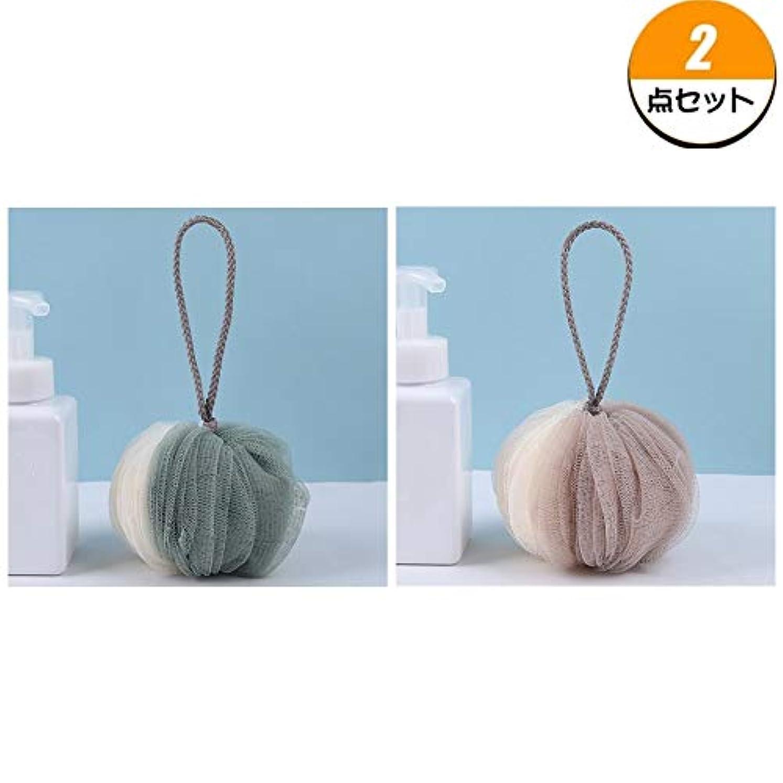 TerGOOSE 泡立てネット 超柔軟 ボディ用 シャワー用 お風呂ボール 花形 タオル 配色 可愛い ふわふわ 人気 2点セット(グリーン+ブラウン)