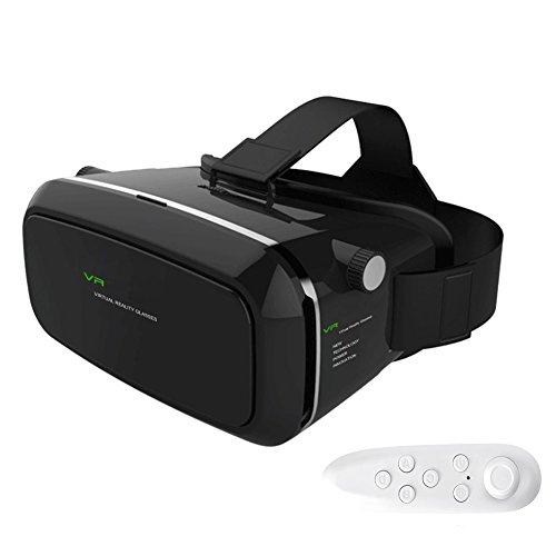 Anskp VRゴーグル iphone5/6/7 plus 4.7-6インチのスマホ対応 3Dメガネ vr ゴーグル レンズ距離を調整可能 vr ゴーグル リモコン付き (ブラック)