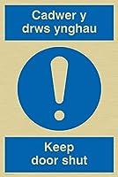 バイキングサインMA925-A4P-GV「Cadwer Y Drws Ynghau/Keep Door Shut」サイン、ゴールドビニール、300 mm H x 200 mm W