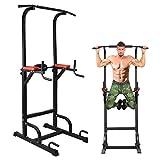 BangTong&Li ぶら下がり健康器 懸垂マシーン 耐荷重150kg 懸垂 器具 筋肉トレーニング 背筋 腹筋 大胸筋 (ブラック+レッド(背面クッションあり))