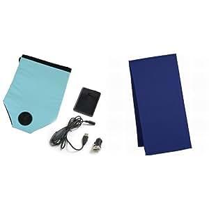 【セット買い】東京西川 エアロシート USB&シガーアダプター&乾電池ボックス付き + クールタオル ブルー