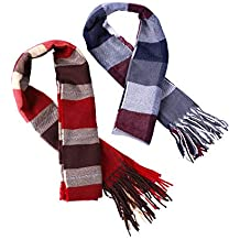 Tatuo 2 Pieces Plaid Scarf Soft Cashmere Feel Winter Scarves for Men and Women