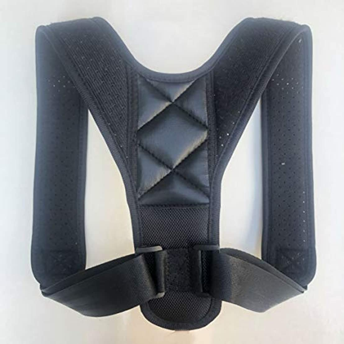 アッパーバックポスチャーコレクター姿勢鎖骨サポートコレクターバックストレートショルダーブレースストラップコレクター - ブラック