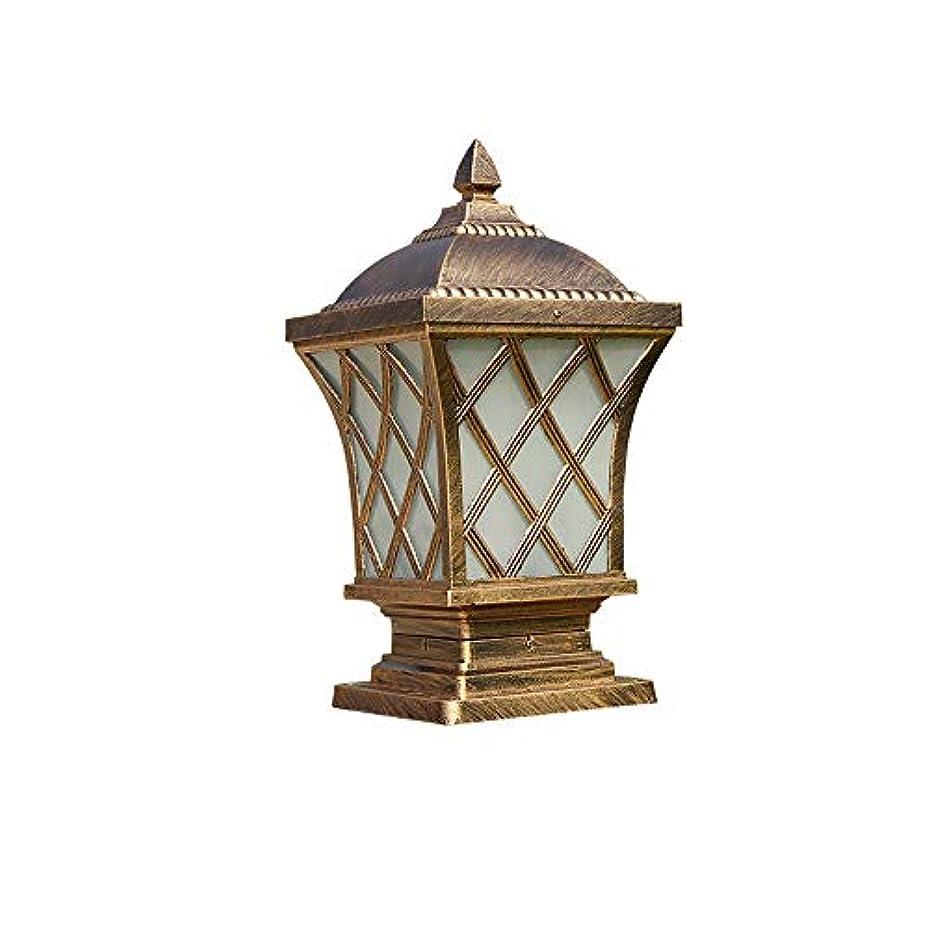 の前でとティームブリークPinjeer E27スクエアストライプガラスヴィンテージ屋外柱ライトヨーロッパip54防水アルミコラムランプコミュニティフェンス風景ガーデンストリートドア装飾ポストライト (Color : Brass, サイズ : M)