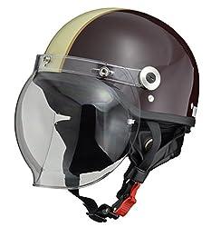 リード工業(LEAD) バイクヘルメット ジェット CROSS バブルシールド付きハーフヘルメット ブラウン アイボリーフリーサイズ(57-60cm未満) CR-760