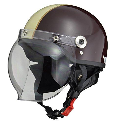リード工業(LEAD) バイクヘルメット ジェット CROSS バブルシールド付きハーフヘルメット ブラウン アイボ...