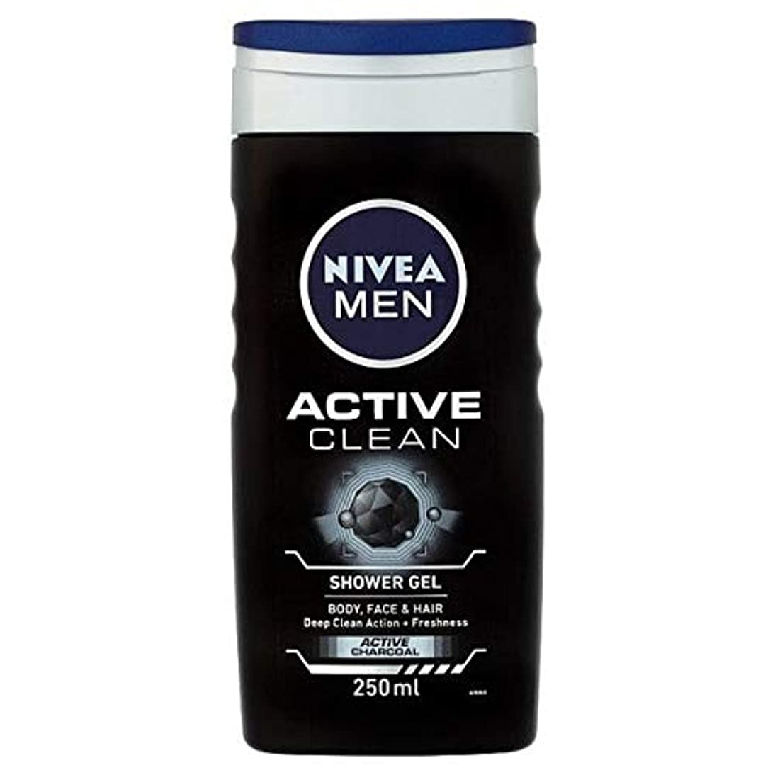 司教。に話す[Nivea ] ニベア男性用シャワージェル、炭との活発なきれいな、250ミリリットル - NIVEA Men Shower Gel, Active Clean with Charcoal, 250ml [並行輸入品]