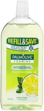 Palmolive Foaming Antibacterial Hand Wash Soap Lime and Mint Refill and Save 0% Parabens Recyclable, 500mL