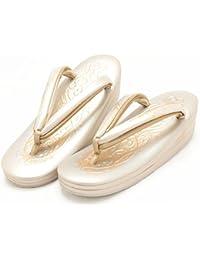 (キステ)Kisste 本皮 礼装用草履 アラベスク金彩型押し パールゴールド Lサイズ(24.0cm~24.5cm) 7-1-04007