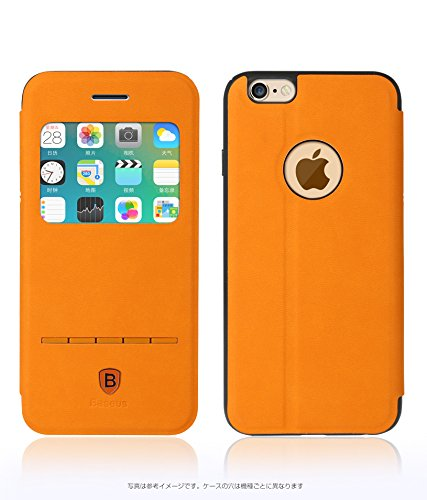 Baseus 正規品 オレンジ×グレー iPhone 6s iPhone 6 スライドでロック解除 スタンド機能 スマホケース スマホカバー ケース カバー
