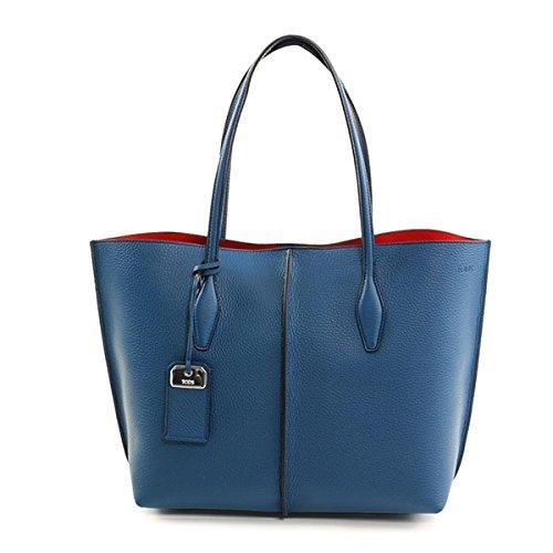TODS トッズ XBWA MFAV300 RIA medium joy bag REST SHOPPING SFOD トートバッグ ハンドバッグ M カラーU821/ダークブルー×レッド [並行輸入品]