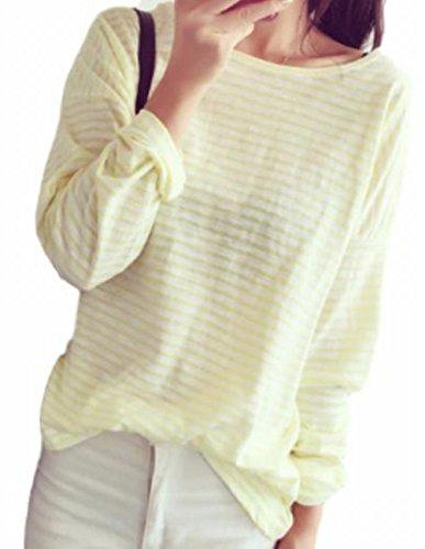 (ヴォンヴァーグ) ventvague トップス ボーダー 長袖 カットソー Tシャツ 黄 緑 黒 ピンク レディース (03.XL, イエロー)