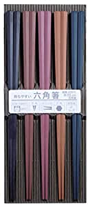 サンライフ 来客用箸 彩り六角PBT箸 23cm 5膳セット 316450