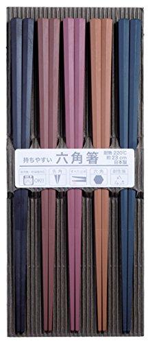 サンライフ 来客用箸 彩り六角PBT箸 23cm 5膳セット...