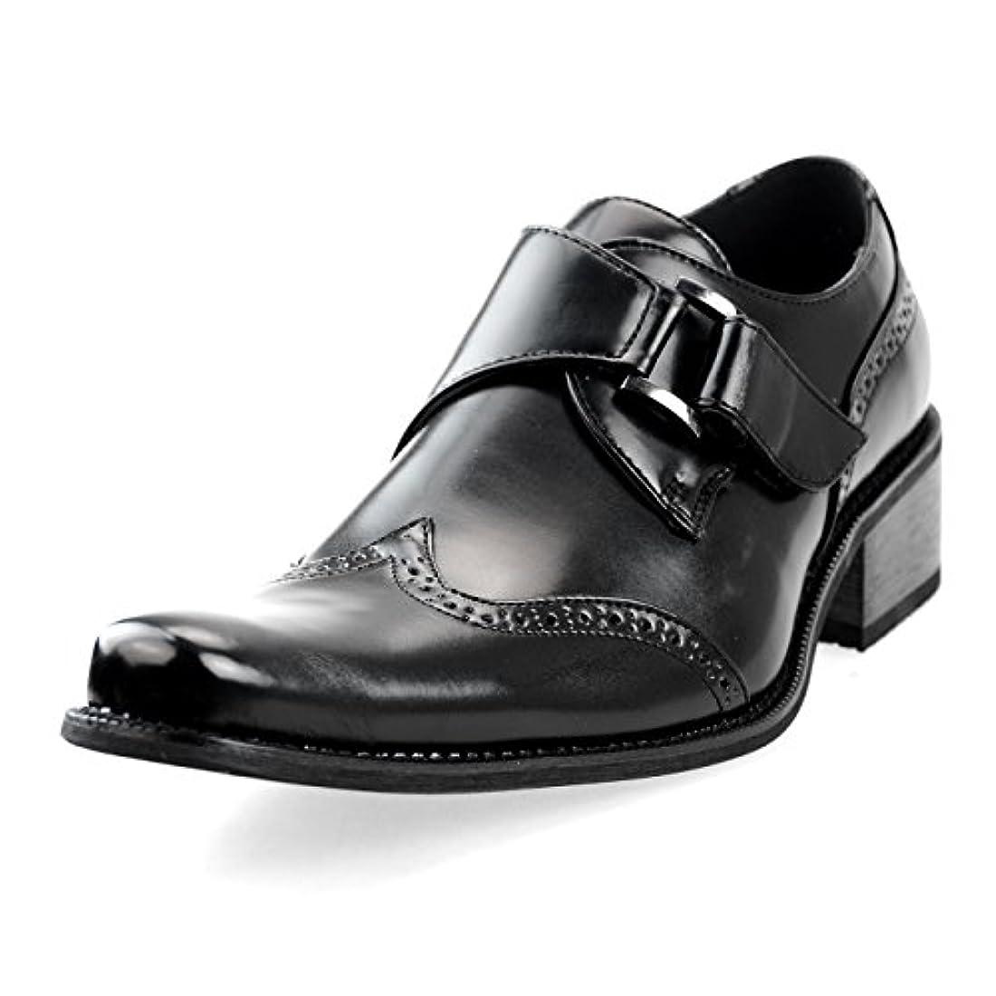 シェア高める拡大する[エムエムワン] MM/ONE ビジネスシューズ メンズ モンクストラップ 紳士靴 スリッポン ウィングチップ メダリオン短靴 美脚