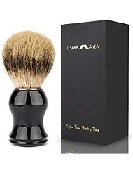 CHARMMAN高品質メンズ用アナグマ毛シェービングブラシ、ブラック樹脂ハンドル
