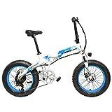 X2000 20インチファットバイク折りたたみ自転車7スピードスノーバイク48V 12.8Ah 500Wモーターアルミ合金フレーム5 PASマウンテンバイク駆動補助機付自転車 (白青, 10.4Ah + 1予備バッテリ)