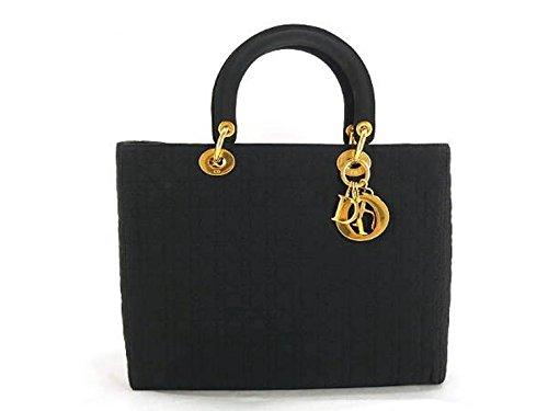 (ディオール)Dior レディディオール ハンドバッグ ブラック ゴールド金具 キルティングキャンバス 中古