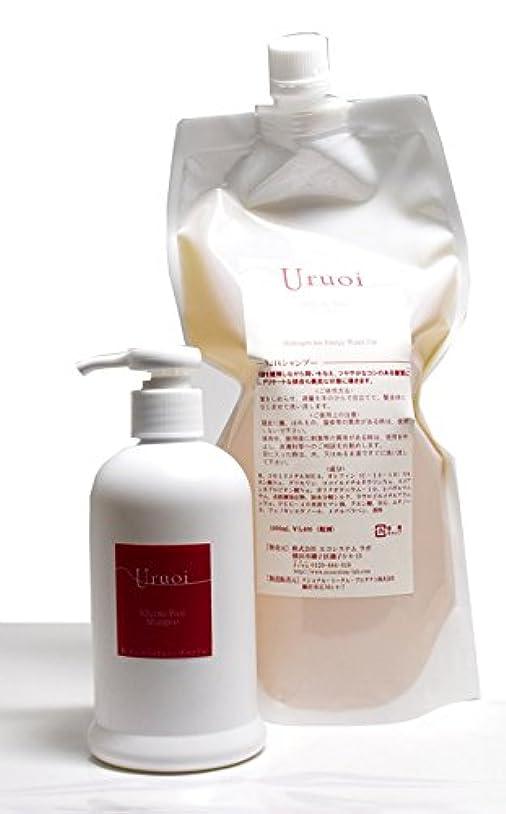 ほうきテクスチャー害水素イオン発生エネルギー水 うるおいシャンプーとレフィールのセット ノンシリコン Silicone Free Uruoi Shampoo