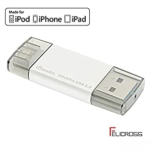 MFI 認証済 ライトニングメモリ スマホデータ移行 USB Flashドライブ for Ipad & Iphone Mobi GH19A iPhone/iPadのメモリー増設 写真 音楽 動画を移行 USBメモリ 写真 動画 音楽 再生 バックアップ ファイル 転送 (64GB, シルバー)
