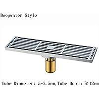 拡張床排水、エレガントな彫刻されたアンチ臭い粉砕機/シャワー排水浴室バルコニーキッチンハードウェアアクセサリー、アンティーク銅(30 * 8cm) (形状 : Deepwater Style)