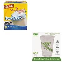 kitcox70427ecoepcc16gs–Valueキット–eco-products , Inc。GreenStripeコールドドリンクカップ( ecoepcc16gs )とGlad ForceFlex tall-kitchen巾着バッグ( cox70427)