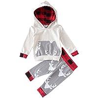 Weixinbuy Baby Girls' Clothes Set Cotton Deer Grid Printed Hoodie 2 PC