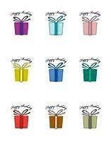 (Happy Birthday) - Wine Glass Decals by Wine Wear [Happy Birthday] - Best birthday party and event decoration, wine glass decoration, wine marker (set of 9)