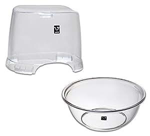 シンカテック 風呂椅子 HK & 湯桶 SX セット アンティクリスタル クリア