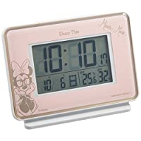 SEIKO CLOCK (セイコークロック) 目覚まし時計 ミニーマウス 電波 デジタル カレンダー・ 温度・湿度表示 ミッキー&フレンズ Disney Time(ディズニータイム) ピンク FD466P