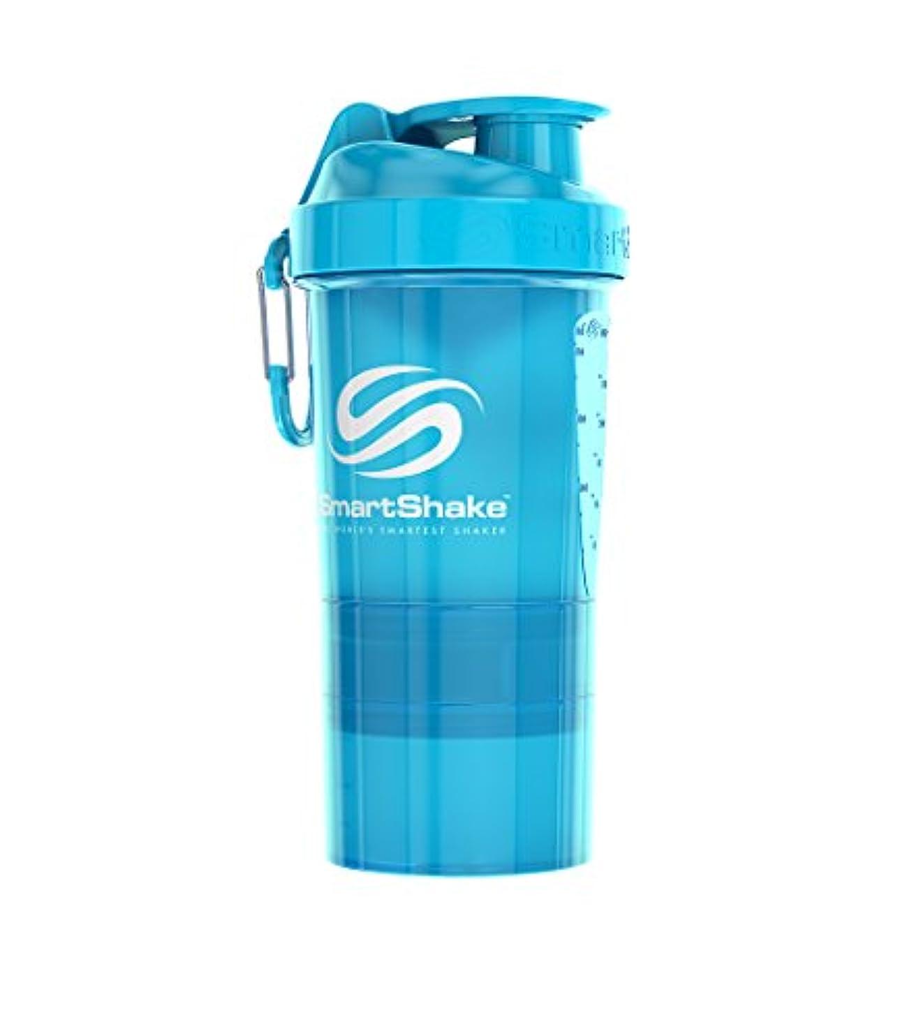 コーヒー収入ビジュアルSmartShake(スマートシェイク) プロテインシェイカー O2GO【NEON BLUE】600ml
