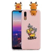 Huawei P20 シェル カバー Happon 耐久性のある 衝撃吸収 保護 シェル バックケース ウルトラ インパック 緩衝器 カバー スリム ハイブリッド TPU シェルs の Huawei P20 (Light Pink)
