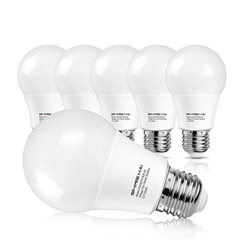 「激安セール」SH LED電球 E26口金 白色 密閉形器具対応 白熱電球60W形相当 省エネ90% 800ルーメン 広配光タイプ 4000K 6個セット 三年保証 人気