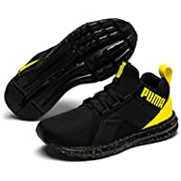 PUMA Unisex-Kids' Enzo Tech Sneaker, Black-Blazing Yellow