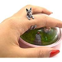 Vintage 3D German Shepherd Puppy Ring Anillos Boho Chic Anel Animal Rings Gift