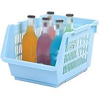 YI LU Deng JU- プラスチックは、果物と野菜のバスケット、キッチンラック、果物と野菜のバスケットの床仕上げストレージを重ねることができます (色 : 青)