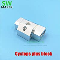 AiCheaX-1D更新されたCyclops Plus Multi-Extrusion Block Multi Color 2 in 1 Out j-Head Block Black/Silver for 3D printer HotEnd Parts-(色:黒)