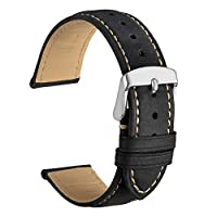 WOCCI 19mm Watch Band - Vintage Leather Watch Strap Black with Silver Buckle (Contrasting Stitching)