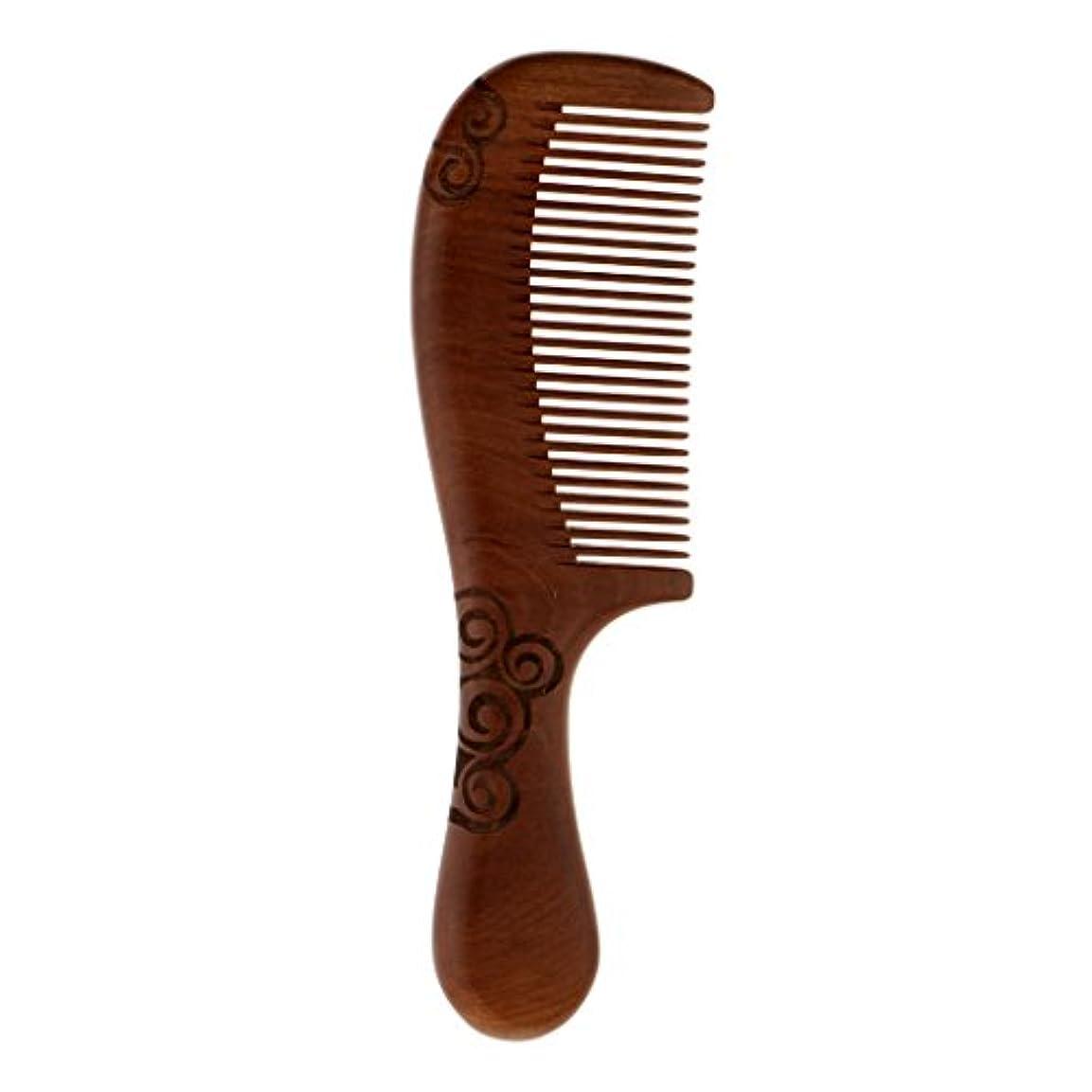 返済石前提Injoyo ハンドヘルドピーチウッドヘアマッサージコームポケットヘアブラシファイン歯ブラシ